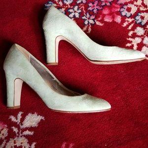 J. Crew mint green suede pump heels size 8